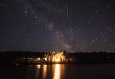 在银河下的营火 免版税图库摄影