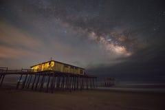 在银河星系下的Frisco码头 免版税图库摄影