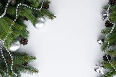 在银色和绿色的圣诞节安排 空格fo 库存图片