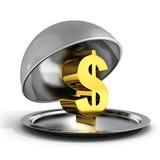 在银色盛肉盘盘子的金黄美元的符号 皇族释放例证