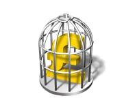在银色笼子的金黄磅标志, 3D例证 图库摄影