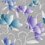 在银色背景的无缝的花梢五颜六色的花卉样式 库存例证