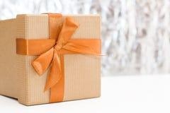 在银色背景的礼物盒 库存图片