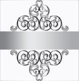 在银色装饰品的邀请卡片 免版税库存照片