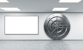 在银行存放处的锁着的圆的保险柜 向量例证