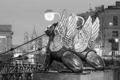 在银行桥梁,圣彼德堡,俄罗斯的新来的人 图库摄影