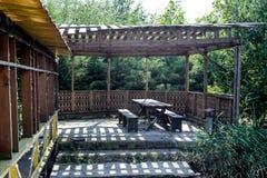 在银行的树荫处 自然的休息处 库存图片