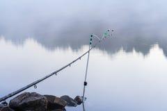 在银行的钓鱼竿,在湖的安静的清早,黎明,太阳的第一光芒 季节,环境,自然秀丽 免版税图库摄影