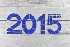 在银被绘的墙板的2015个数字 免版税库存图片