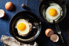 在铸铁长柄浅锅的煎蛋 免版税库存照片