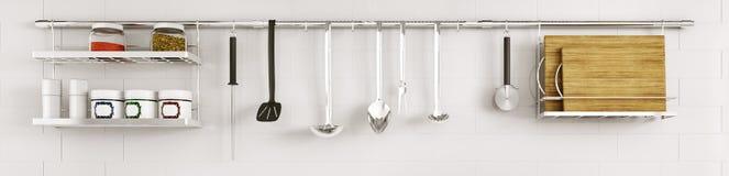 在铺磁砖的墙壁3d上的厨房器物回报 免版税库存图片