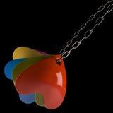 在链子的心脏在黑背景, 3D 库存图片