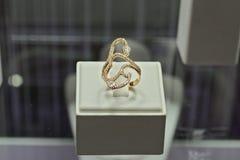 在销售中的典雅的圆环在零售店 免版税库存照片