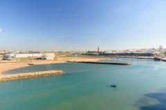 在销售中的看法从Kasbah堡垒在拉巴特,摩洛哥 免版税库存照片