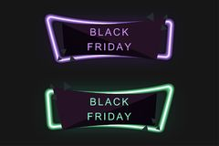 在销售中的黑星期五 霓虹灯,您的设计的特价优待横幅 折扣清除事件节日,最小的样式 免版税库存照片