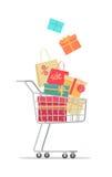 在销售传染媒介中的买的礼物在平的设计 库存例证