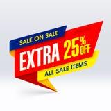 在销售纸横幅,额外25%中的销售  库存图片