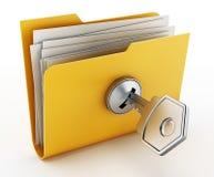 在锁着的黄色文件夹的钥匙 3d例证 免版税库存图片