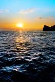 在锚点海湾的日落 免版税库存照片
