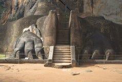 在锡吉里耶山宫殿的脚的狮子的爪子  斯里南卡 图库摄影