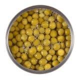 在锡的罐装绿豆在白色 图库摄影