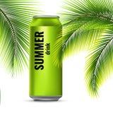 在锡罐的能量饮料 棕榈分支 飞行冷饮 向量3d例证 库存照片