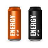 在锡罐的能量饮料 飞行冷饮 向量3d例证 免版税库存图片