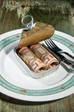 在锡罐的货币。 库存图片