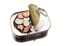 在锡里面的硬币 免版税库存照片