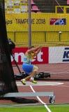 在锤子决赛的MYKHAYLO HAVRYLIUK乌克兰胜利铜牌在国际田联世界U20冠军在坦佩雷,芬兰13h 2018年7月 免版税库存照片