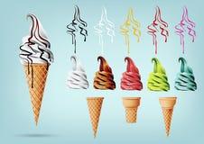 在锥体的模板五颜六色的冰淇凌,不同的味道,传染媒介 免版税库存图片