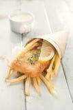 在锥体的炸鱼加炸土豆片 库存图片