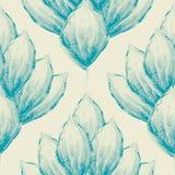 在锦缎样式设计的葡萄酒手画蓝色水彩瓣 在奶油色背景的无缝的传染媒介样式 ?? 向量例证