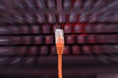 在键盘前面的互联网缆绳 免版税库存图片