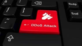 在键盘按钮的DDoS攻击圆的行动 向量例证
