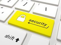 在键盘的安全钥匙 图库摄影