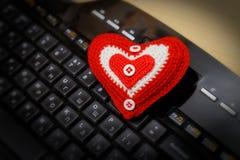 在键盘的心脏 图库摄影