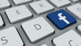 在键盘的脸谱按钮 Facebook关键橡皮防水布板 库存例证