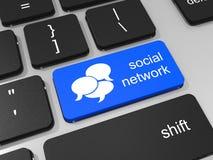 在键盘的蓝色社会网络按钮。 库存图片