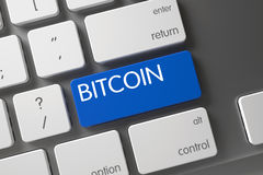 在键盘的蓝色Bitcoin按钮 3d 免版税库存图片
