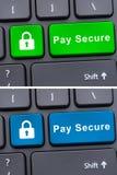 在键盘的薪水安全文本 免版税库存照片