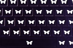 在键盘的蝴蝶标志 库存图片
