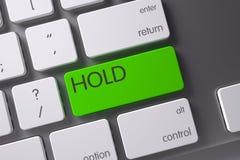 在键盘的绿色举行按钮 3d 库存图片