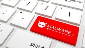在键盘的Malware钥匙 免版税库存图片