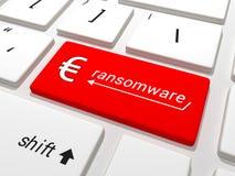 在键盘的Ransomware欧洲钥匙 库存照片