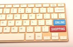 在键盘键的网上购物关闭  免版税库存图片