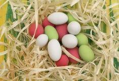 在锯木屑的复活节彩蛋 图库摄影