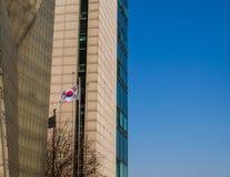 在镀铬物旗杆的韩国旗子 库存图片