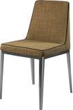 在镀铬物腿的设计师棕色用餐的椅子 在白色背景隔绝的现代软的椅子 库存照片