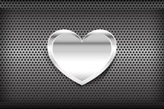 在镀铬物黑和灰色背景纹理的心脏 免版税库存图片